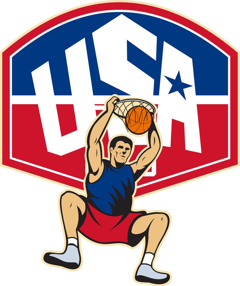Basketball Player Dunking Ball Usa