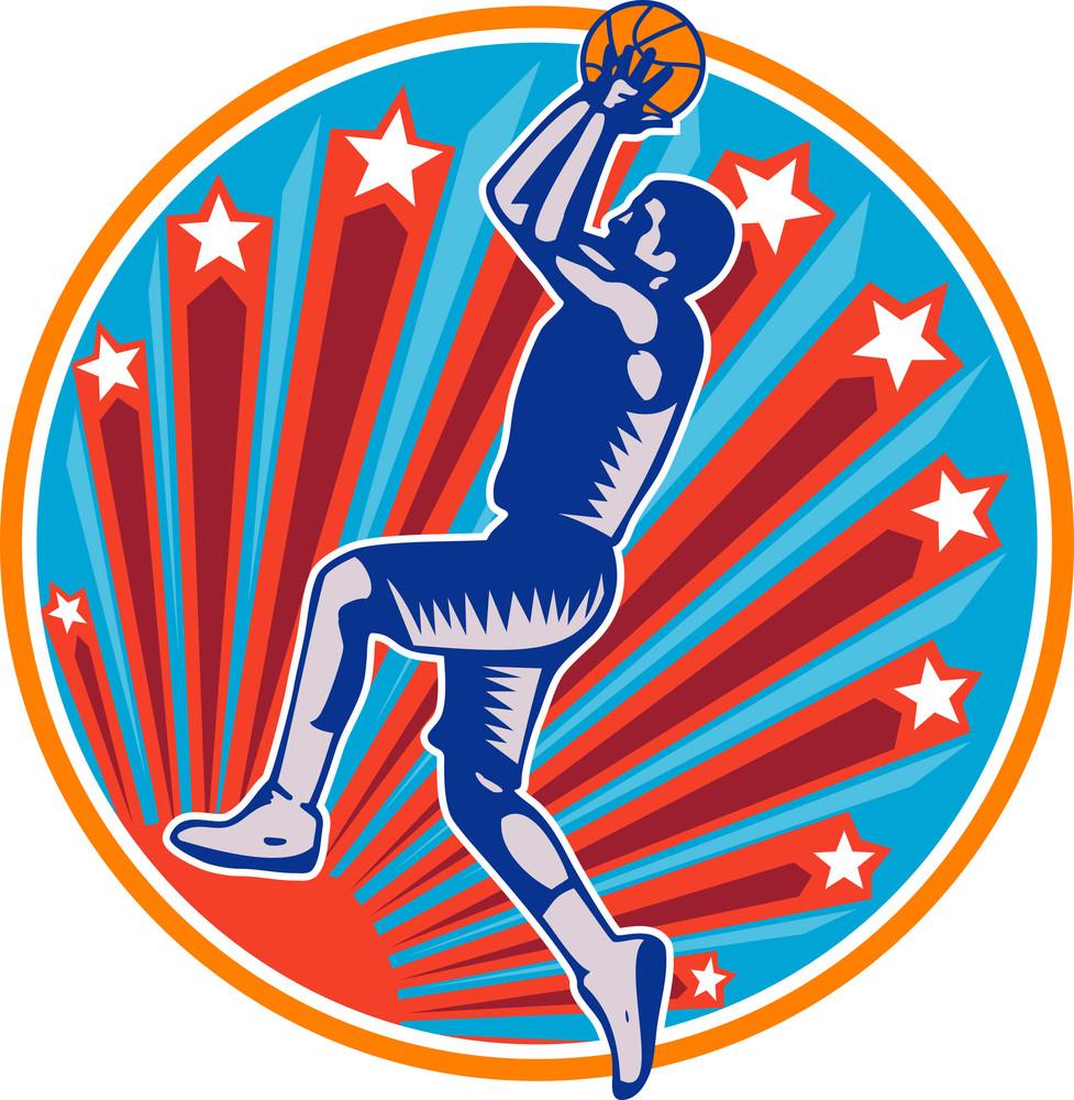 Basketball Player Jump Shot Ball Circle Woodcut Retro