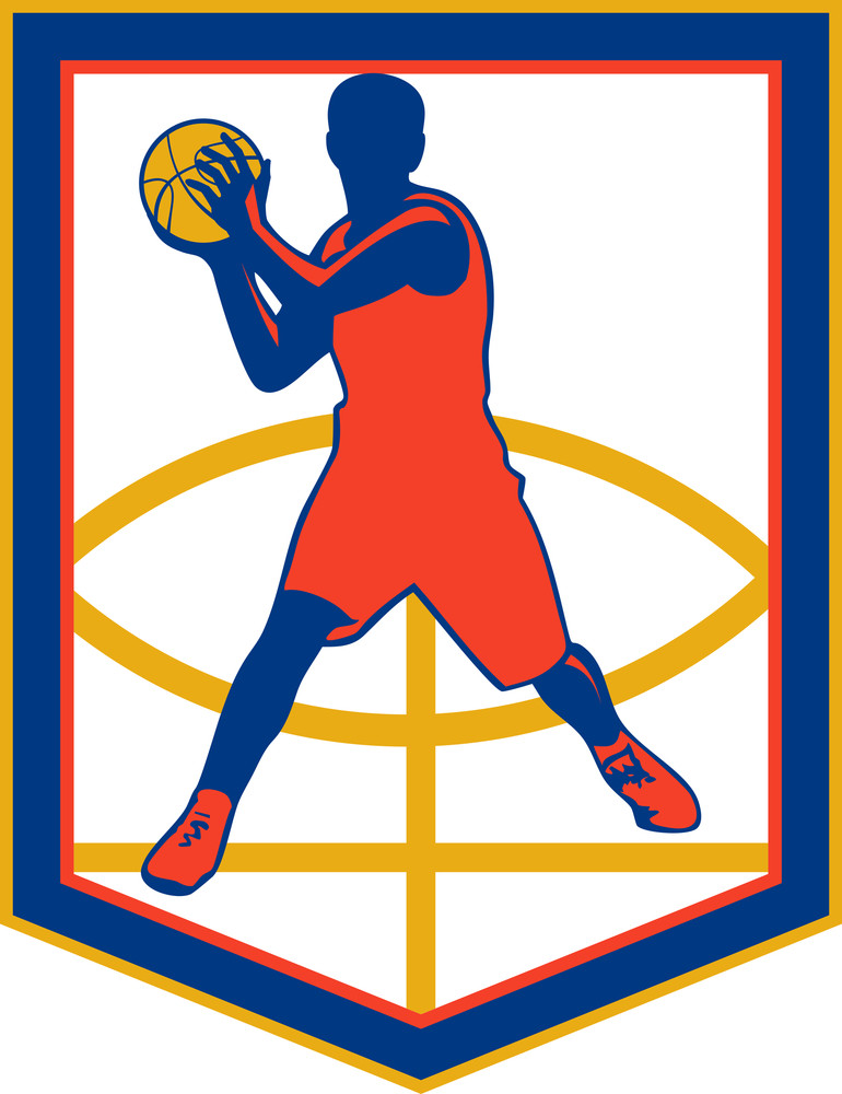 Basketball Player Passing Ball Shield Retro