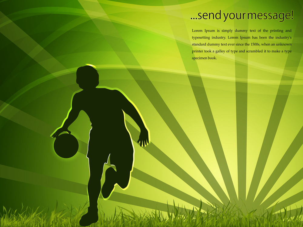 Basketball Player With A Basketball And Green Abstract Background.