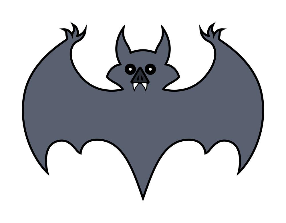 Bat Cartoon - Halloween Vector Illustration