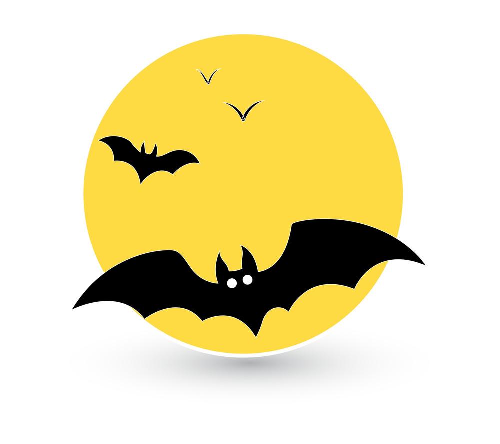 Bats Flying In Full Moon Background Vector
