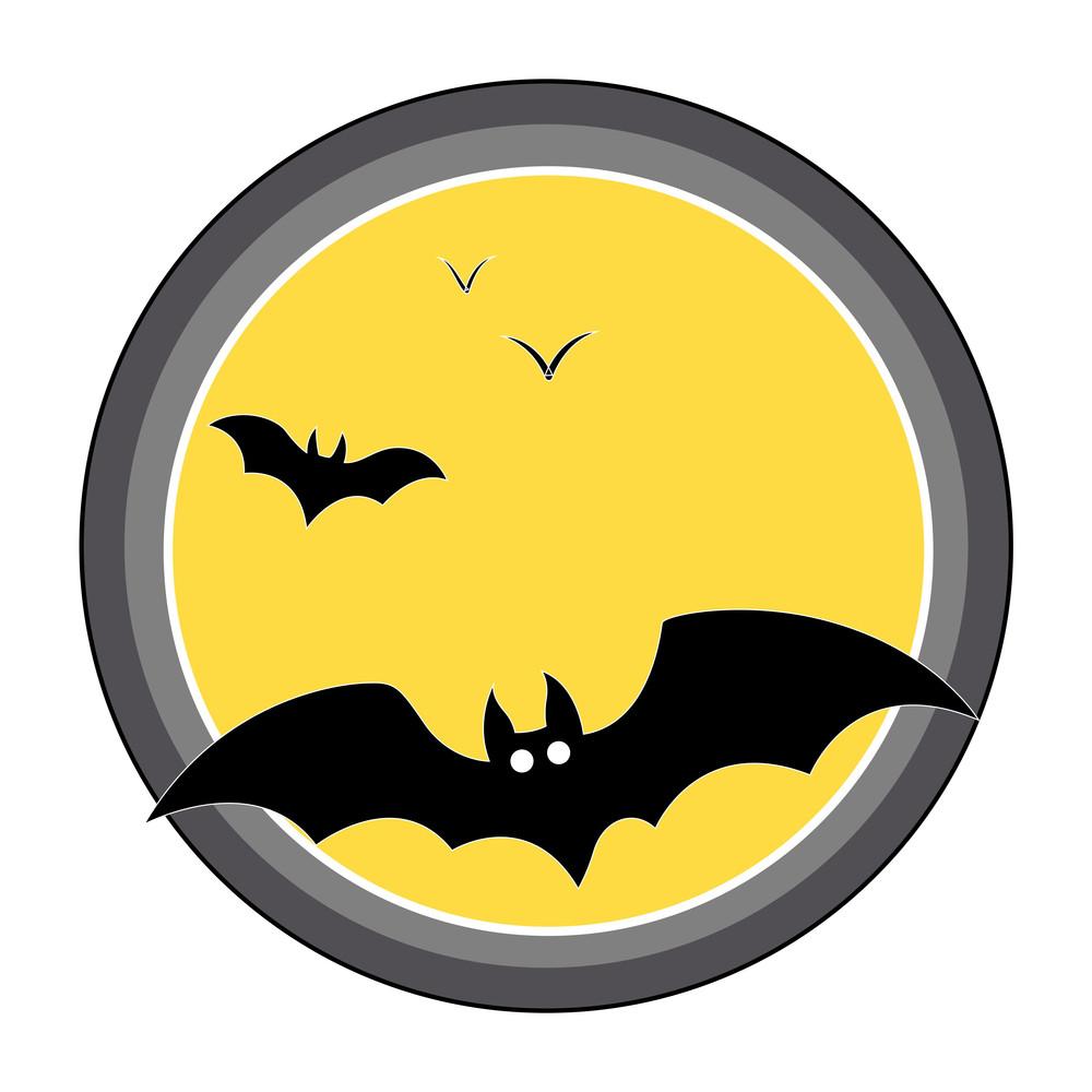 Bats Flying Over Full Moon - Halloween Vector Illustration