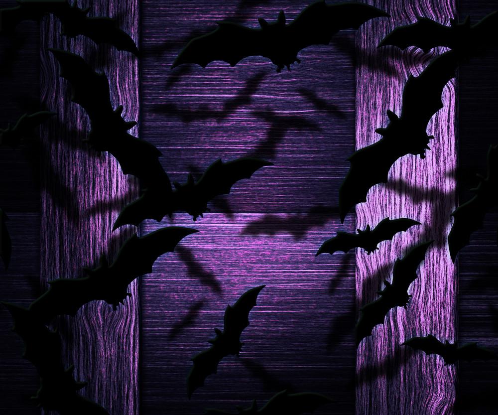 Bats Halloween Violet Background