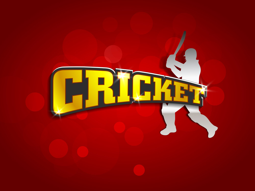 Batsman In Batting Action And  Golden Text Cricket On Shiny Red Background.