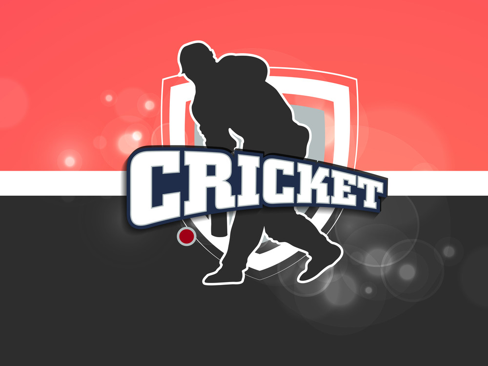 Batsman In Batting Action On Pink And Grey Background.