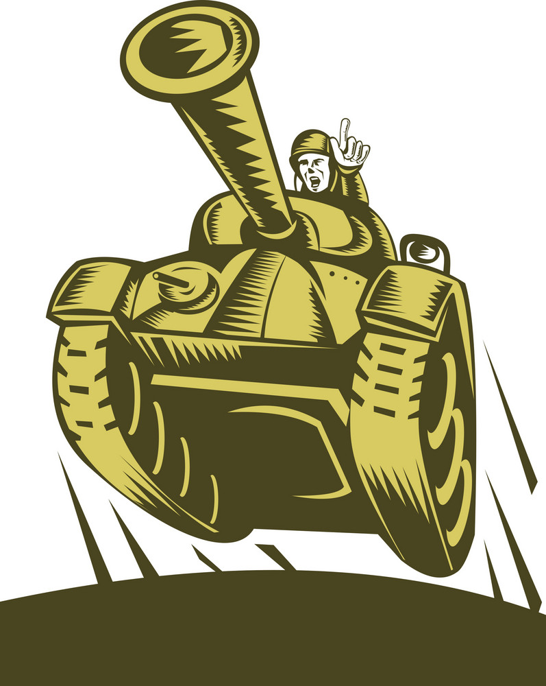 Battle Tank Flying With Soldier Pointing Forward