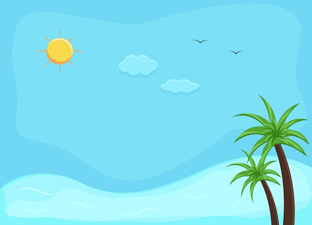 Beach - Cartoon Background Vector