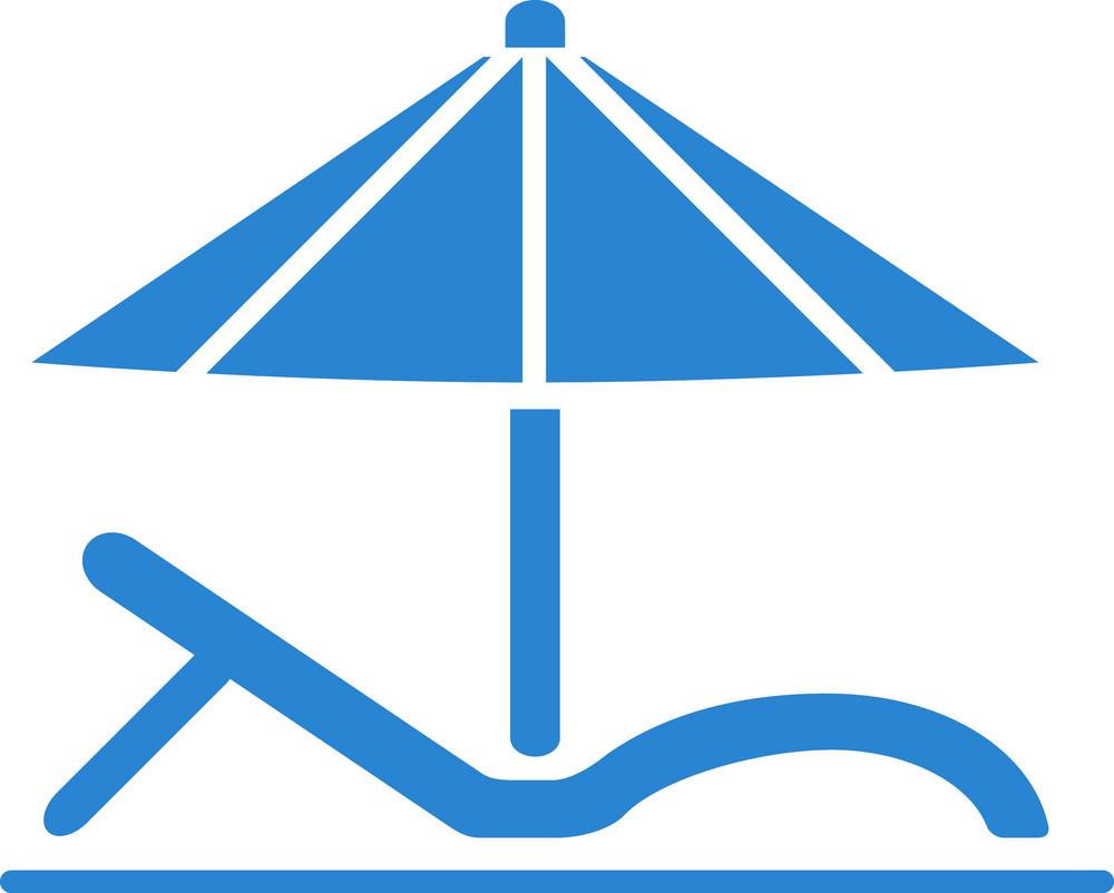 Beach Chair And Umbrella Simplicity Icon