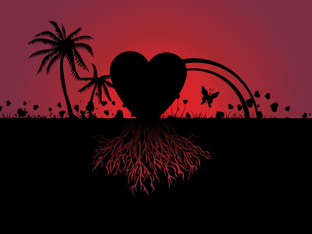 Beach Scene And Love With Its Roots