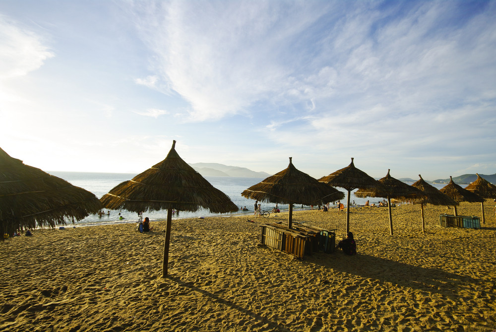 Beach Scene, Tropics, Pacific ocean on morning