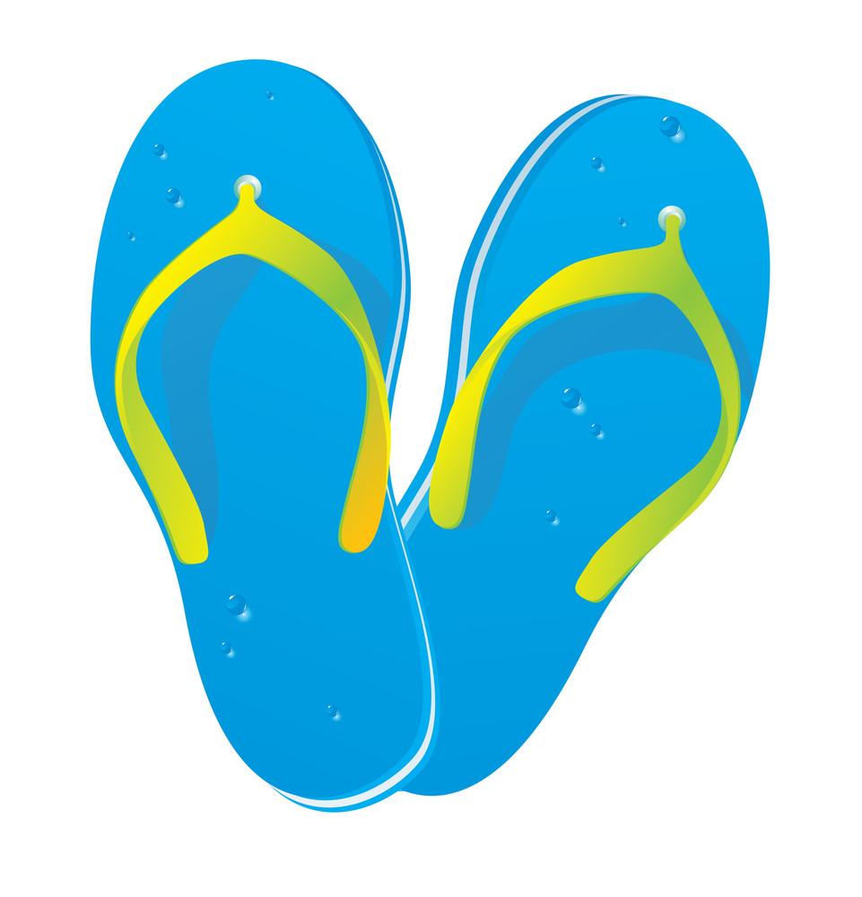 Beach Slippers. Vector.