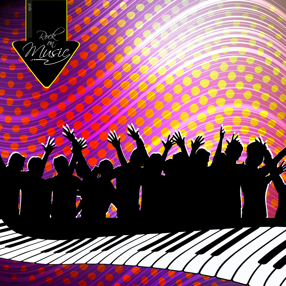 Beautiful Abstract Background With Disco Silhouette. Vector