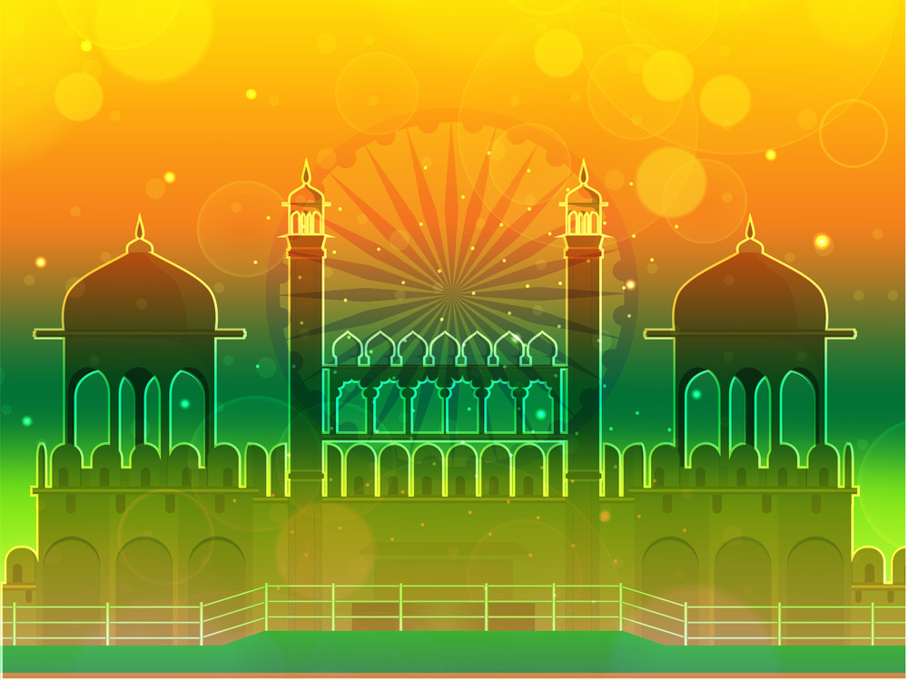 Beautiful Abstract Indian Flag Background With Red Fort.
