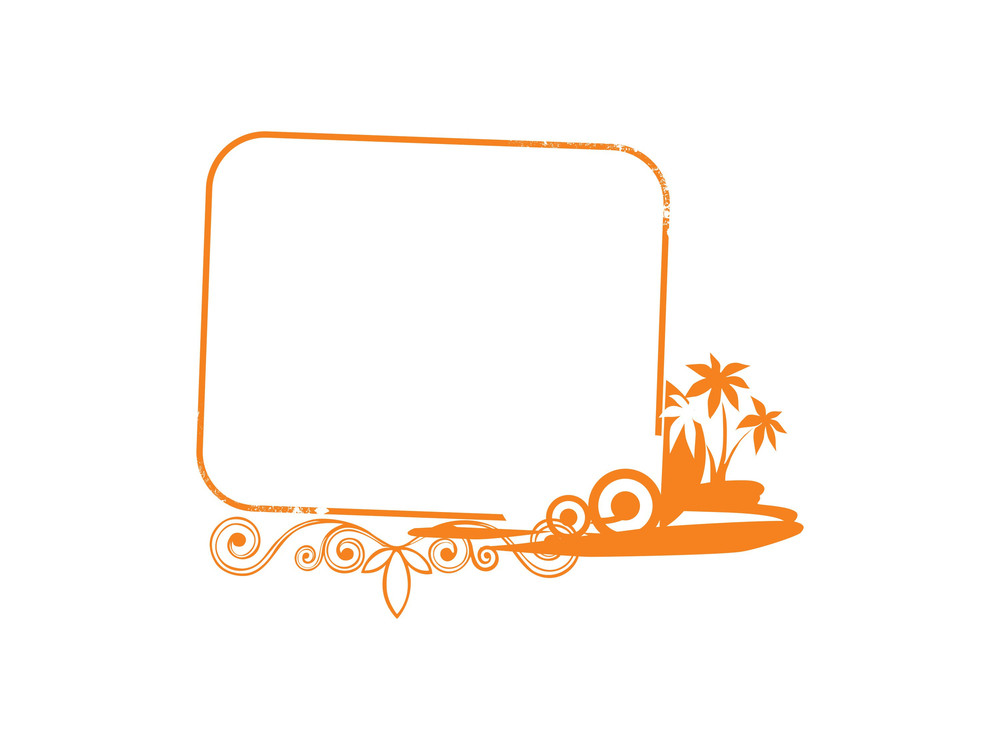 Beautiful Abstract  Yellow Frame With Palm Tree