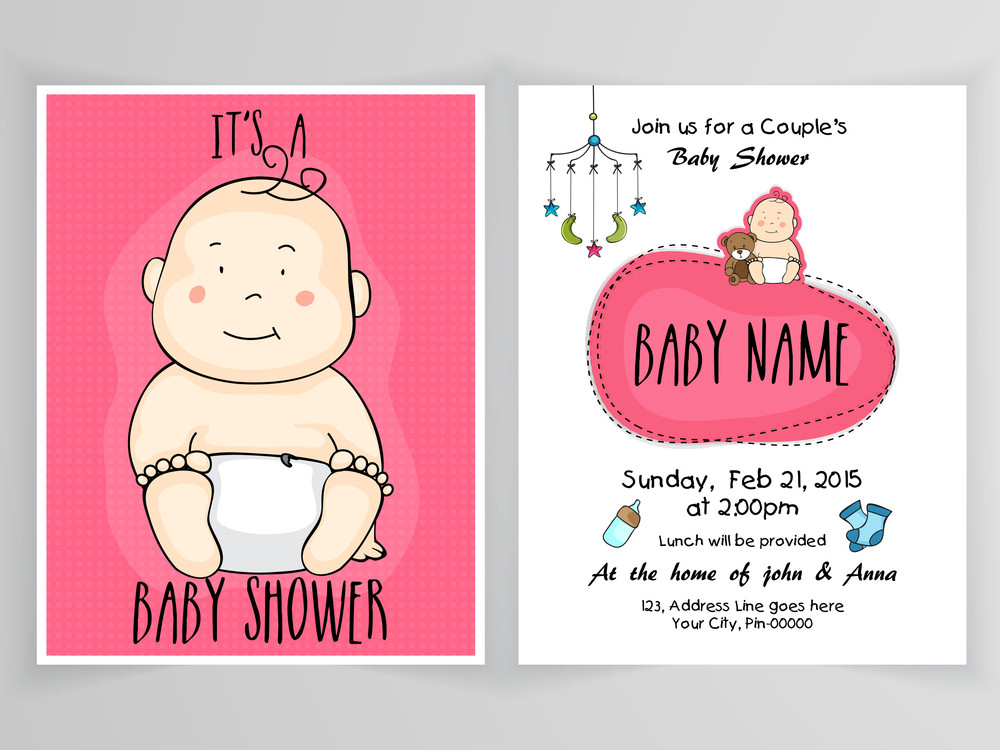 beautiful baby shower invitation card design with front and back page presentation