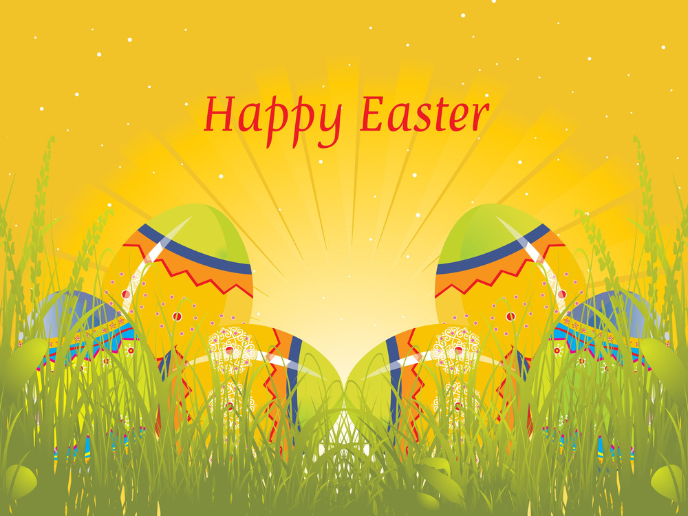 Beautiful Background With Decorated Eggs