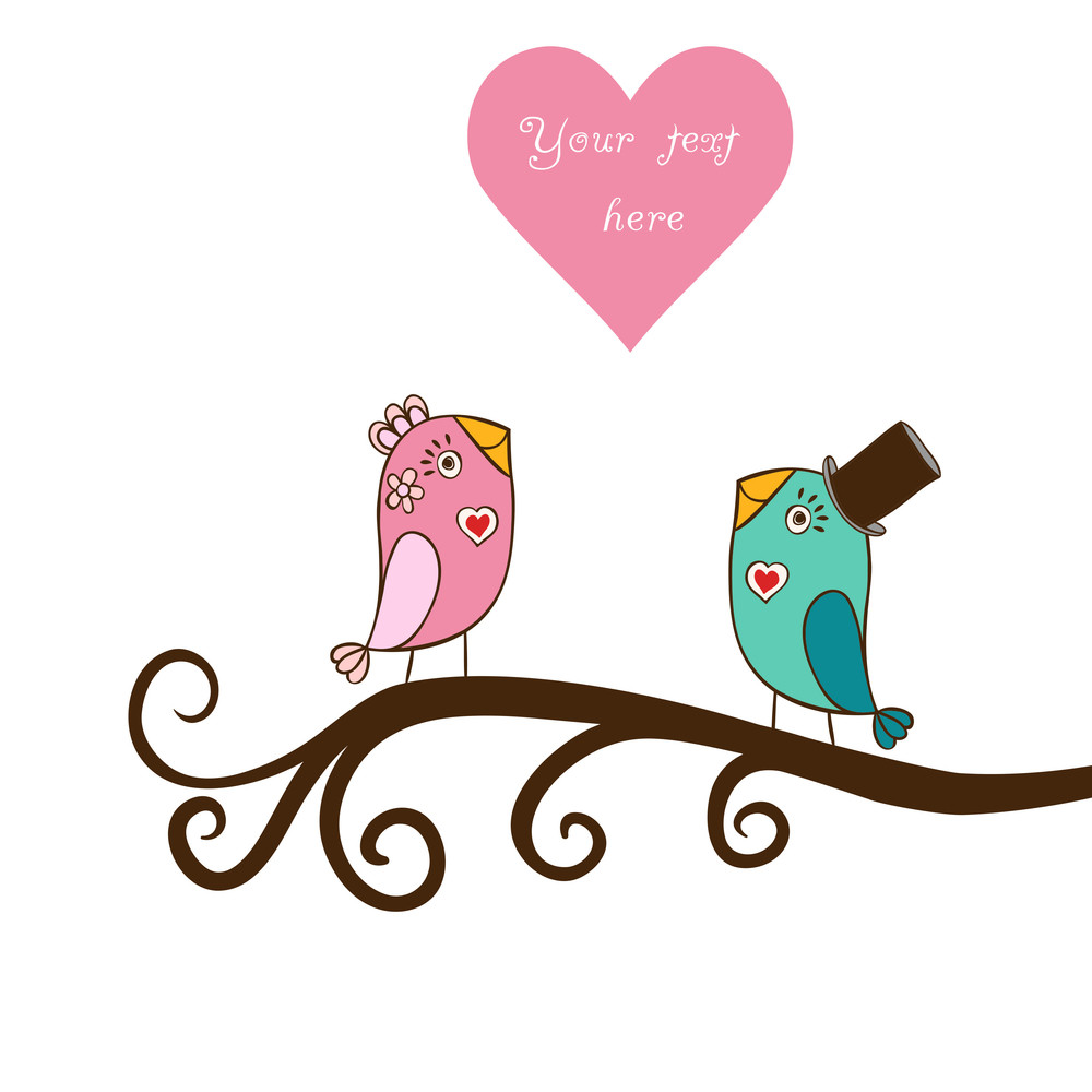 Beautiful Birds In Love.illustration Of Cartoon Birds On Branch