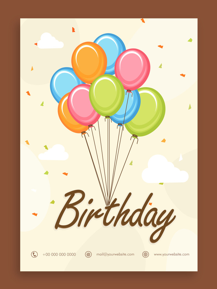 Beautiful Birthday Celebration Invitation Card Or Greeting Design With Colorful Balloons