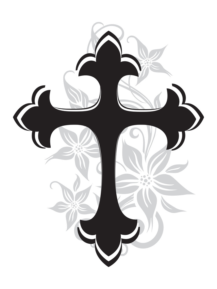 Beautiful Blossom Pattern Isolated Black Cross