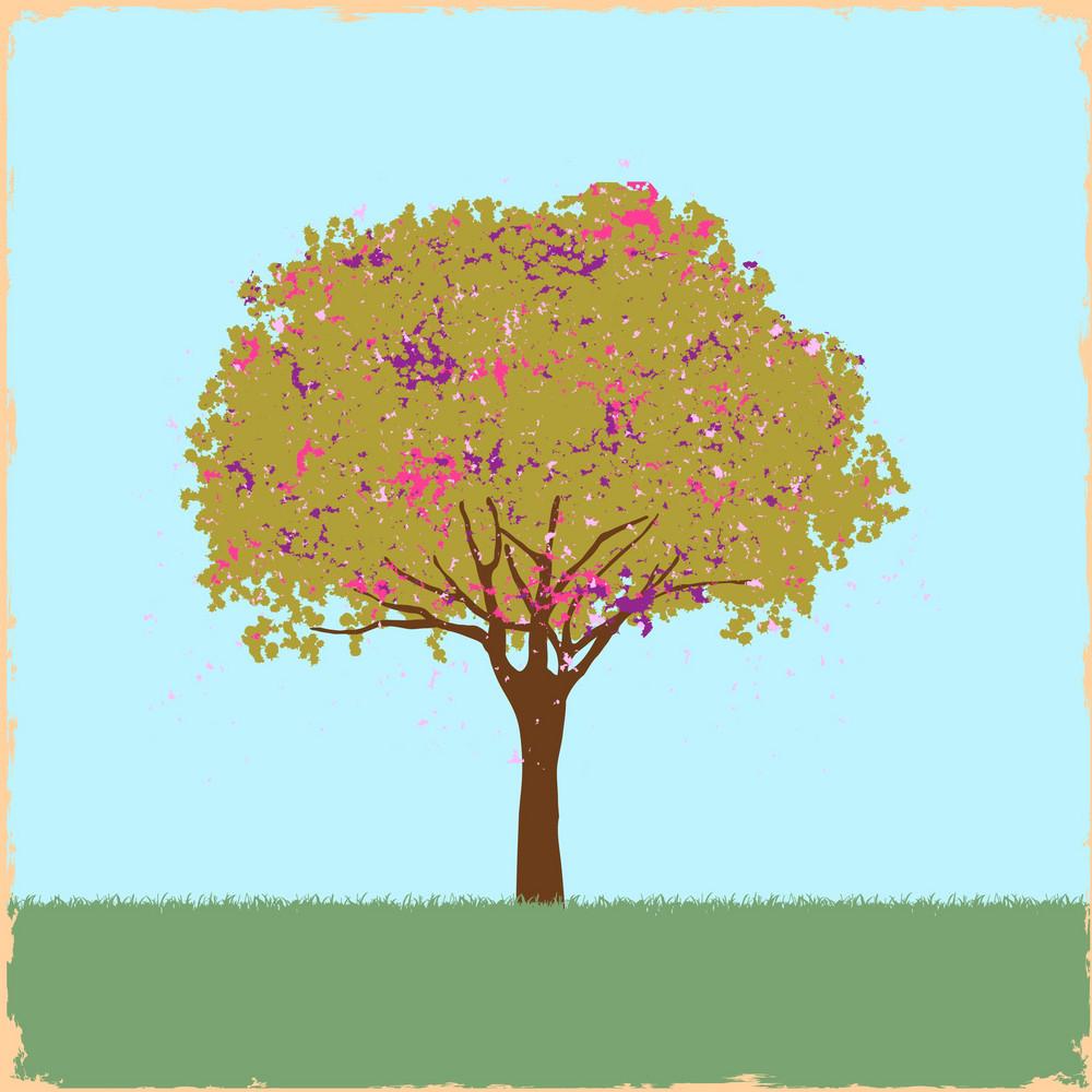 Beautiful Blot Tree In Retro Style