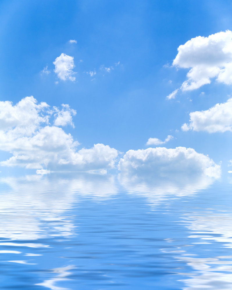 Beautiful Blue Water And Sky Background