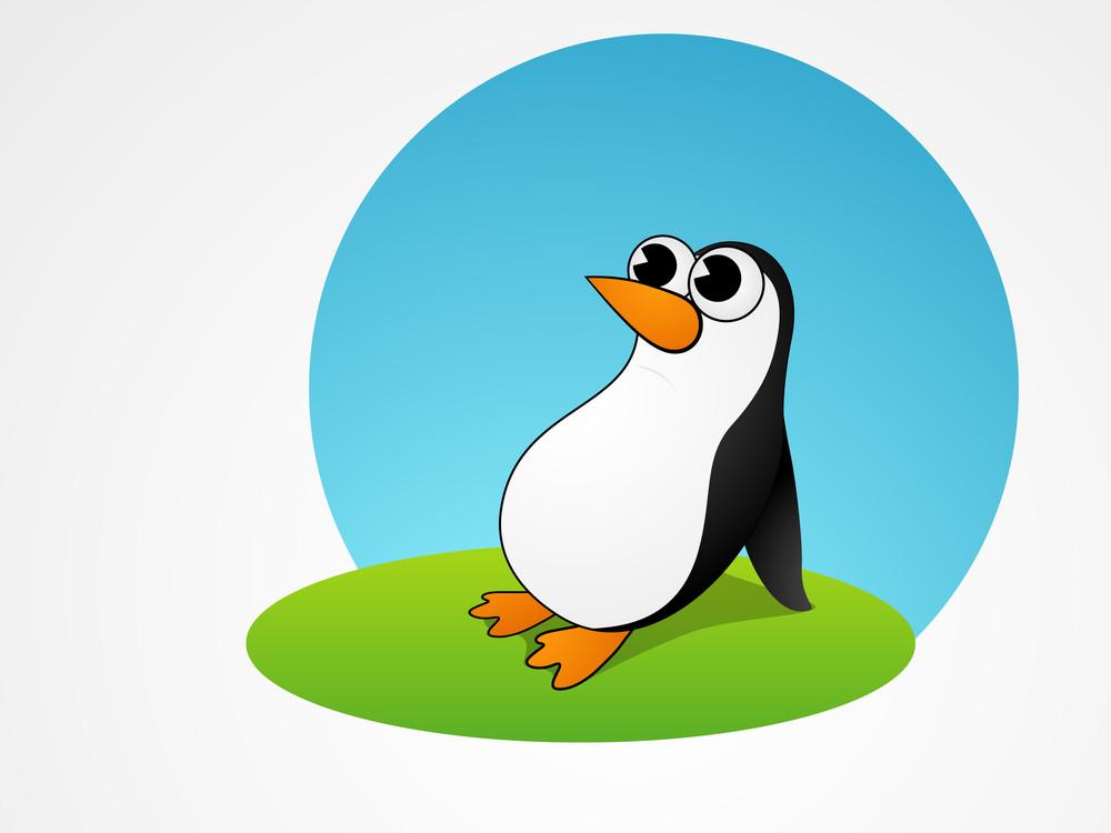 Beautiful Cartoon Of Penguine On Blue Background.