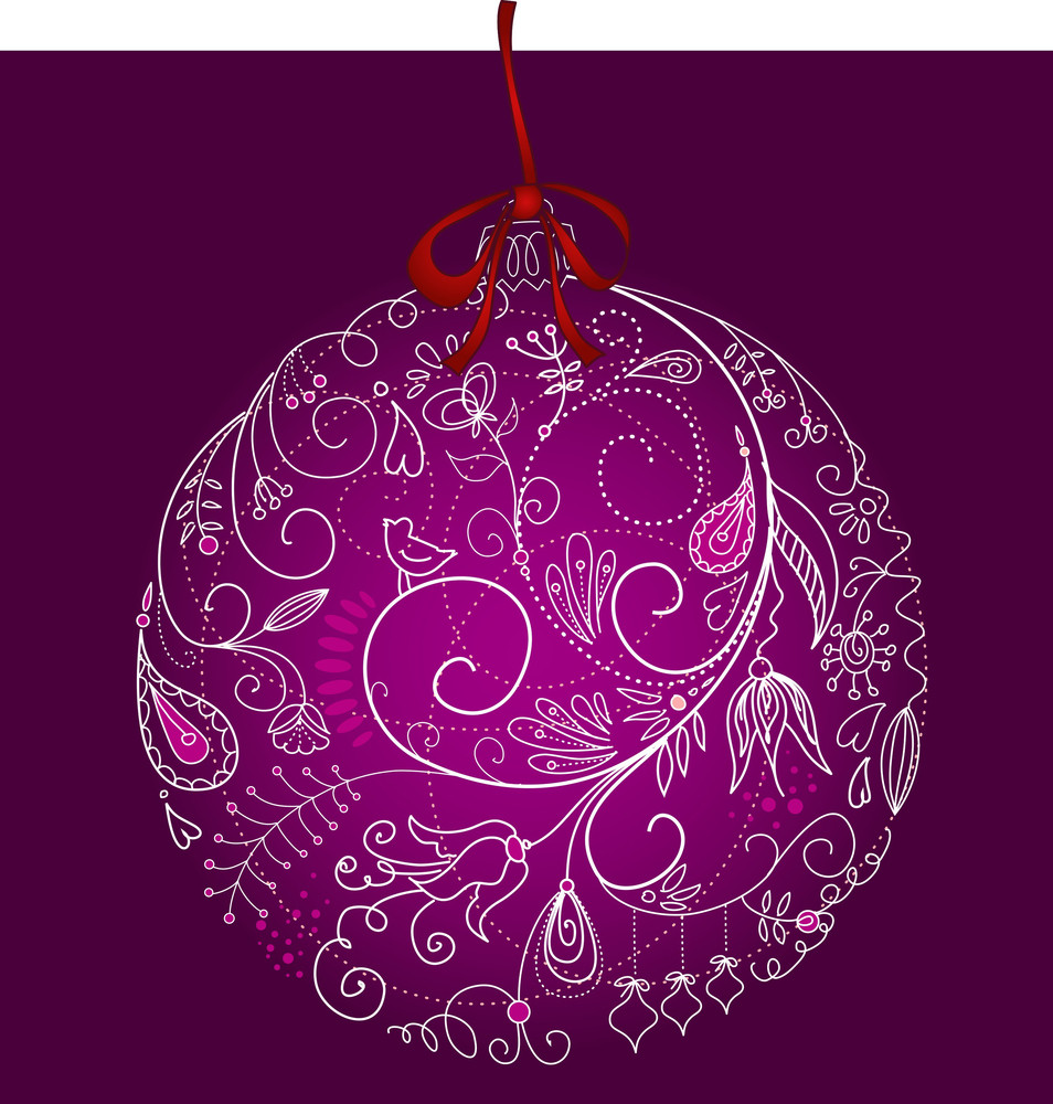 Beautiful Christmas Ball Illustration. Christmas Card