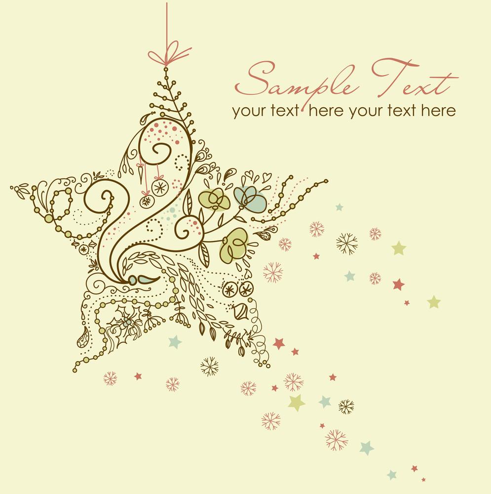 Beautiful Christmas Star Illustration. Christmas Card