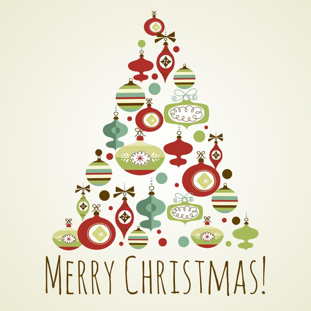 Free Christmas Cards.Beautiful Christmas Tree Illustration Christmas Card