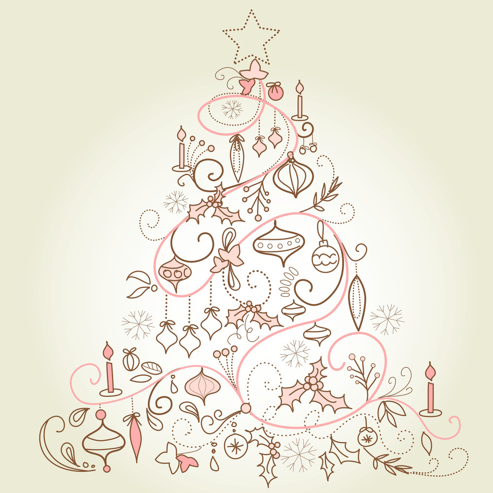 Beautiful Christmas Tree Illustration. Christmas Card-