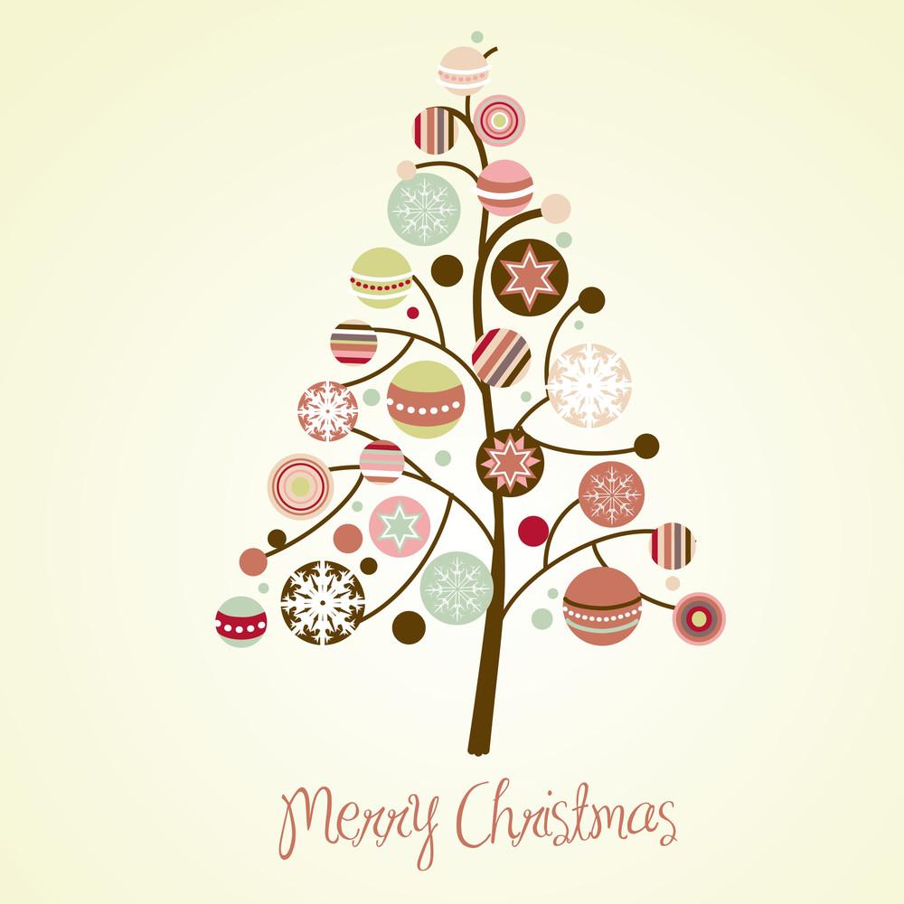 Beautiful Christmas Tree Illustration. Christmas Card-