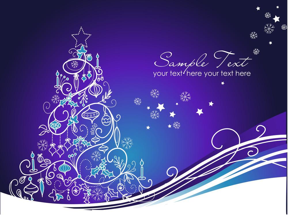 Beautiful Christmas Tree On Blue Background