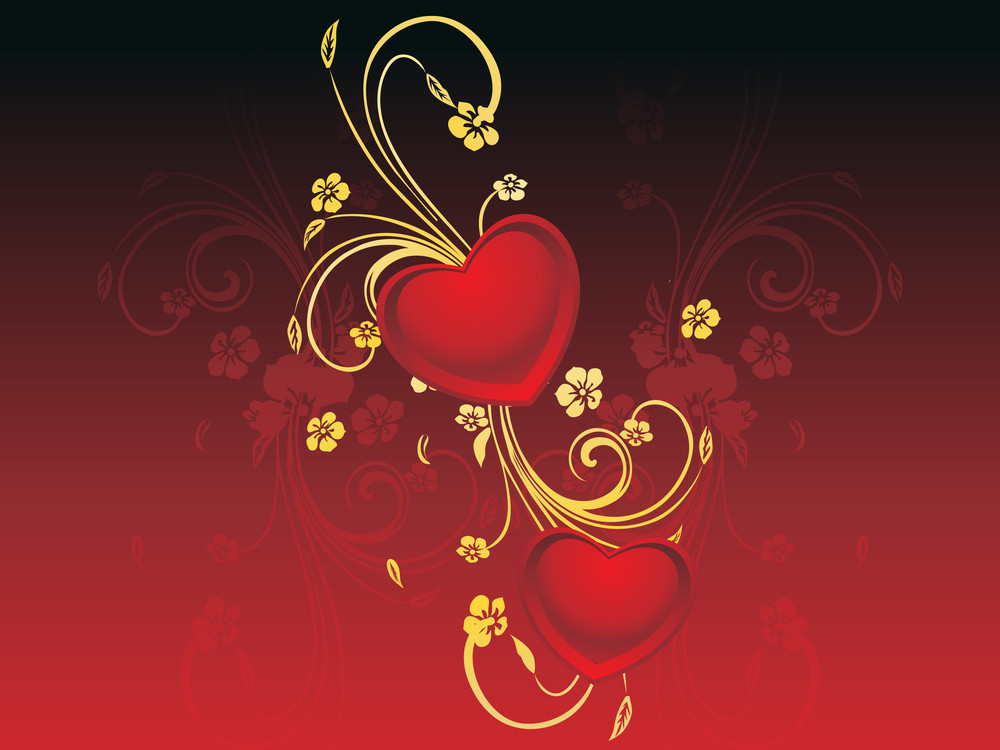 Beautiful Decorated Red Heart With Background