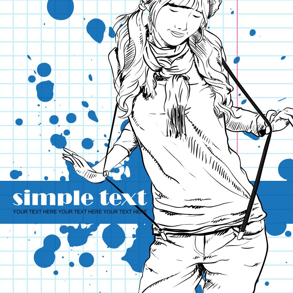 Beautiful Fashion Girl On A Grunge Background. Vector Illustrator.