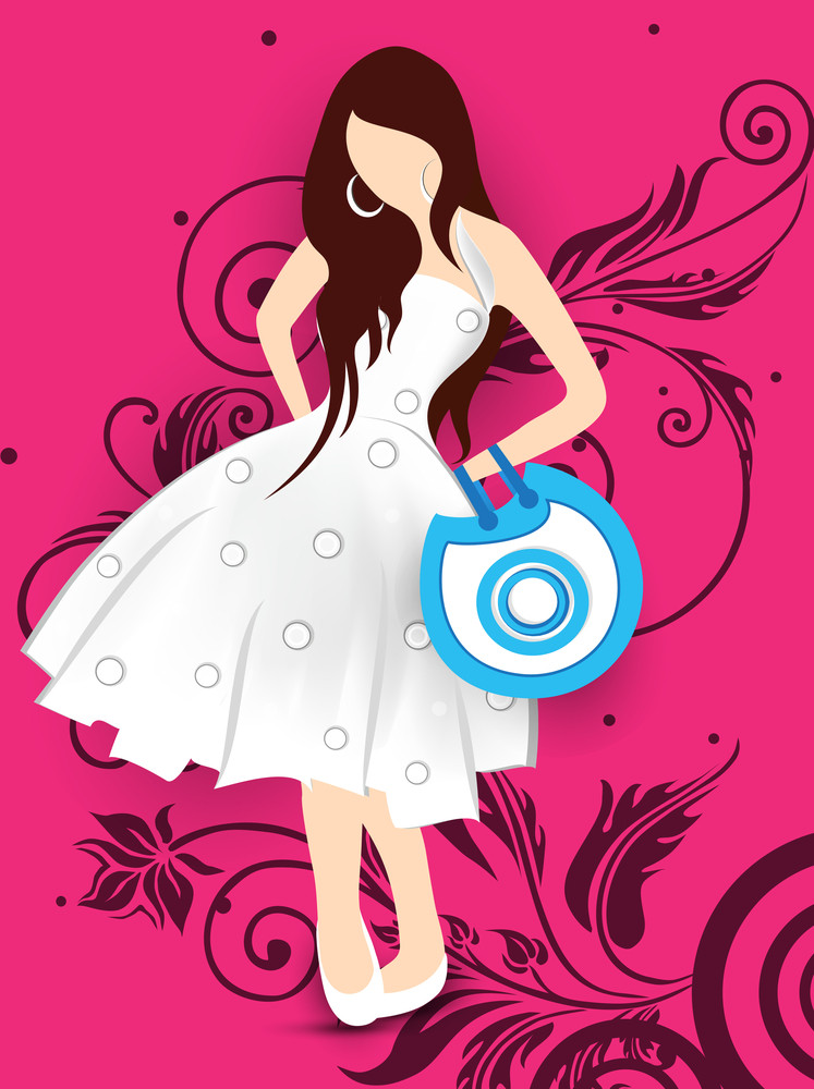 Beautiful Fashionable Model On Abstract Background.