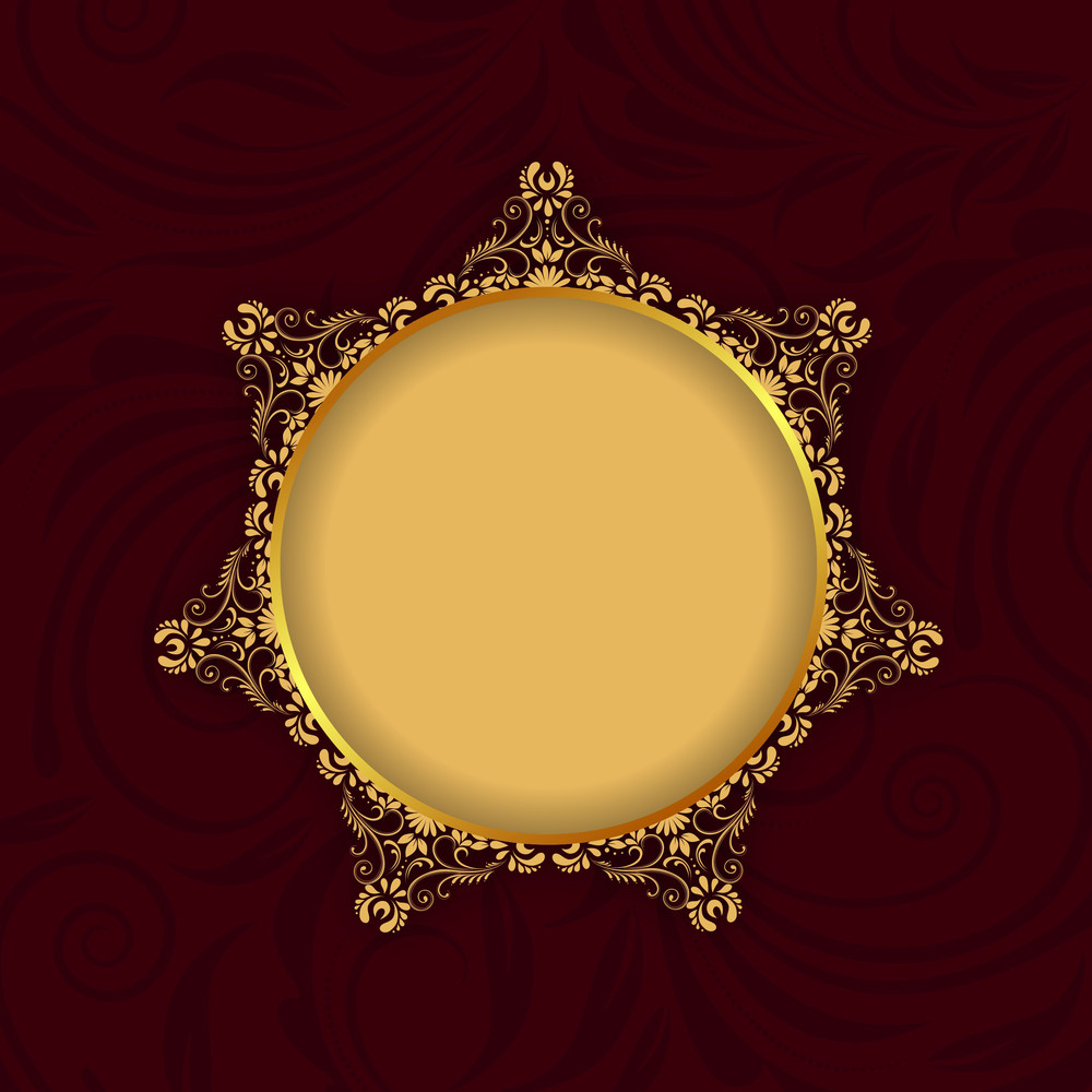 Beautiful Floral Decorated Golden Photo Frame On Abstract Background.