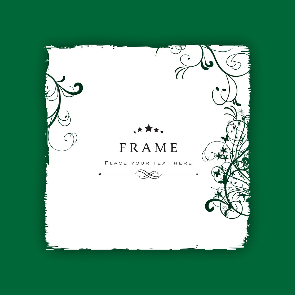 Beautiful Floral Decorated  Photo Frame On Abstract Background.