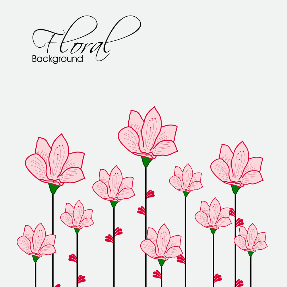 Beautiful Floral Design On Abstract Background.