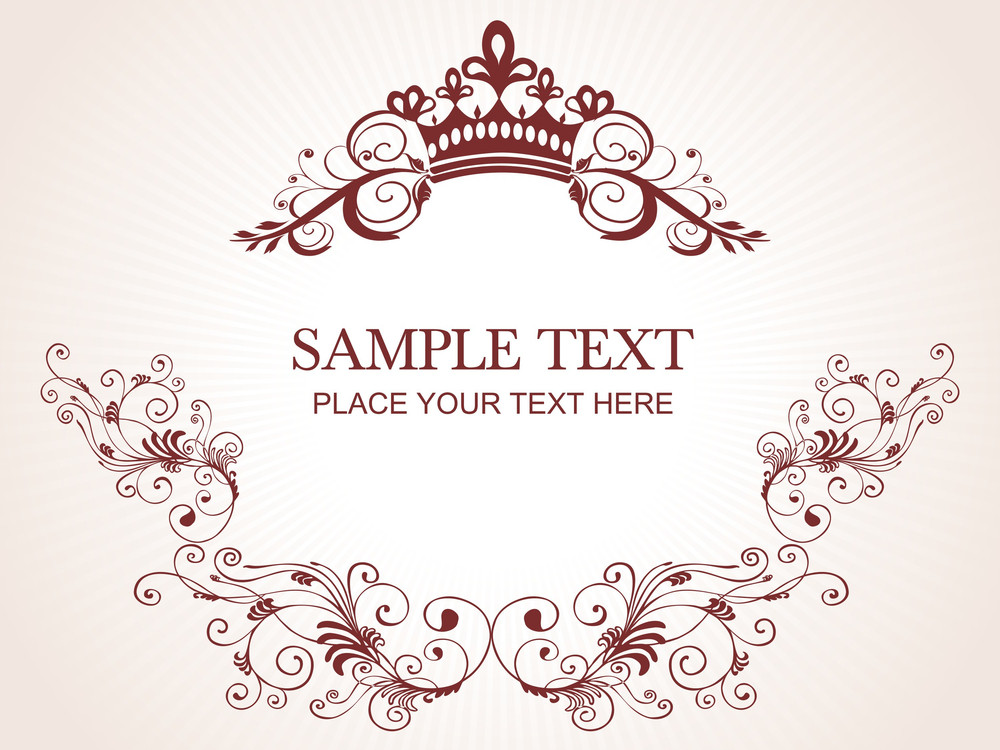 Beautiful Floral Frame With Sample Text