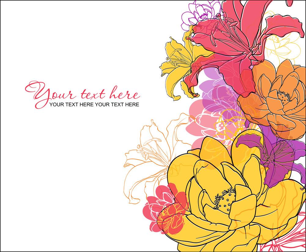 Beautiful Flowers Card. Vector Illustration.