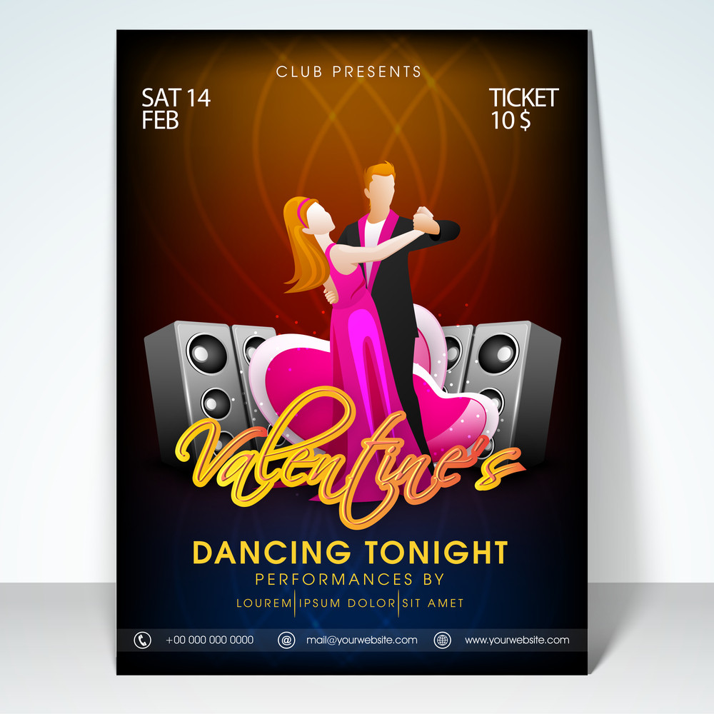 Beautiful Flyer Banner Or Template With Young Dancing Couple On
