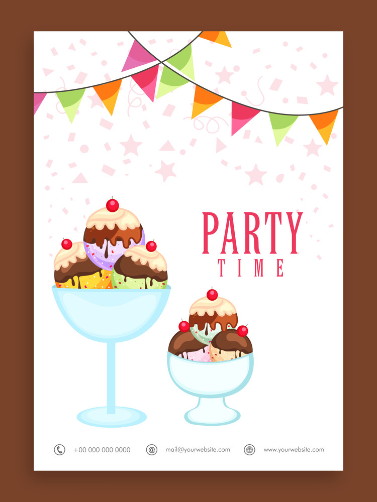 Beautiful flyer template or banner design for Party Time decorated with sweet ice cream.
