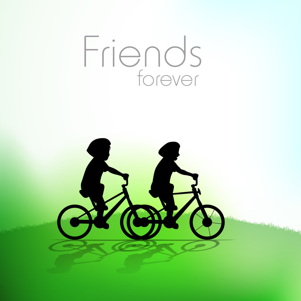 Beautiful Friendship Day Background With Friends Riding Cycle And Text Friends Forever
