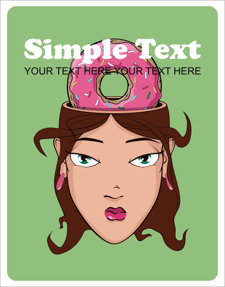 Beautiful Girl Head And Donut. Vector Illustration.