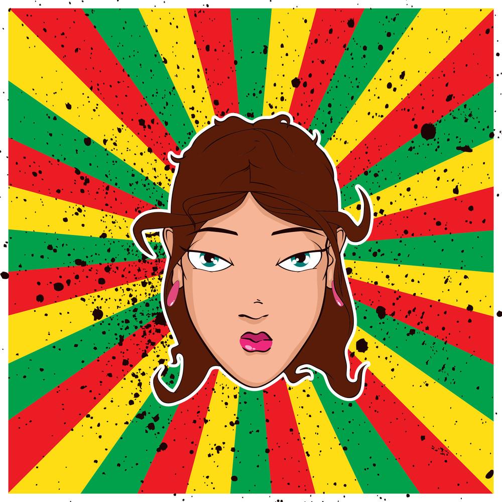 Beautiful Girl Head On The Rasta Background. Vector Illustration.