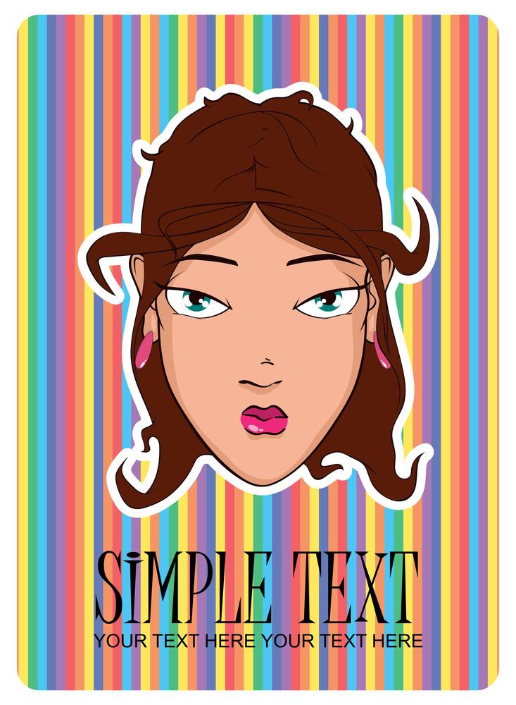 Beautiful Girl Head. Vector Illustration.