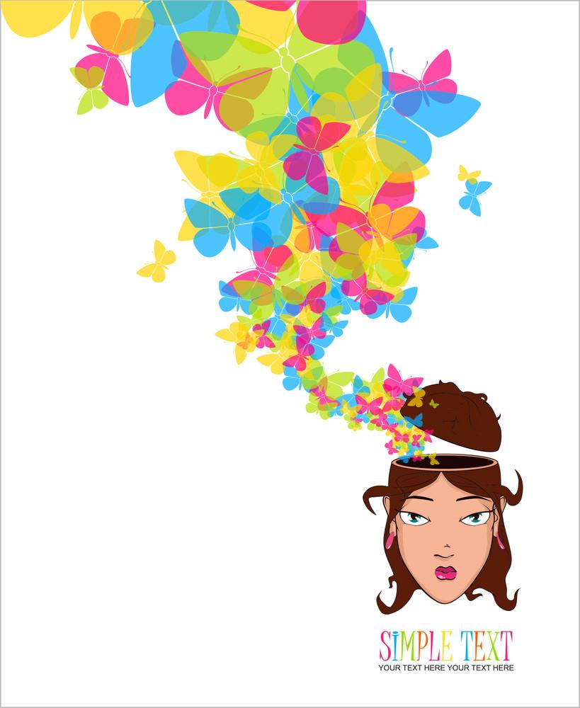 Beautiful Girl Head With Butterflies. Vector Illustration.