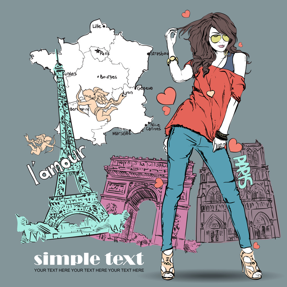 Beautiful Girl In Sketch-style On A French-background. Vector Illustration
