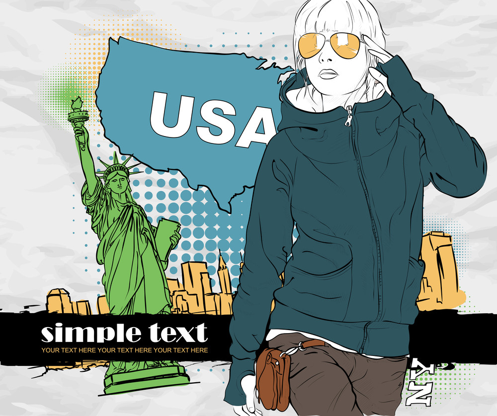 Beautiful Girl In Sketch-style On A Usa-background. Vector Illustration.